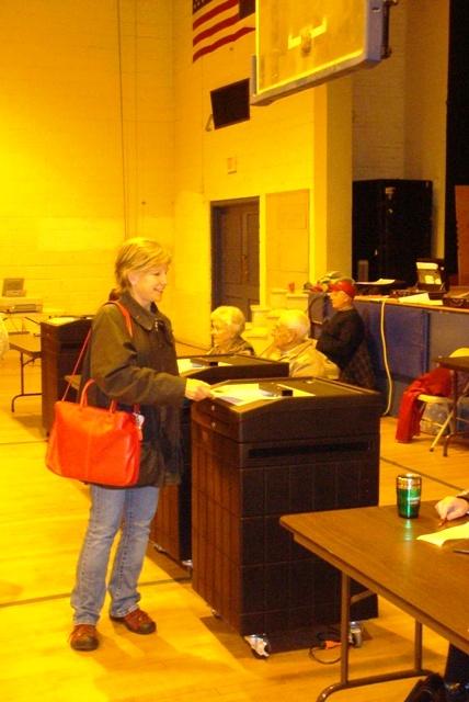 Karen Christensen–voting in Great Barrington, Massachusetts on 4 November 2008