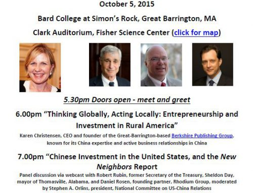 CHINA Town Hall comes to Great Barrington on Monday, October 5th