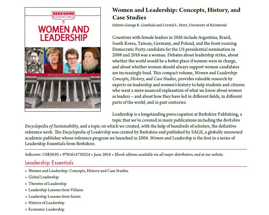 Women and Leadership cover & description